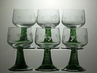 "Green stem clear bowl Etched 10 OZ wine hock glasses set of 6 - 5 1/3"" Tall"