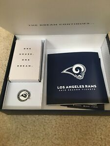 2019 Los Angeles LA RAMS Complete Season Ticket Stubs with Gift Box Speaker Pin