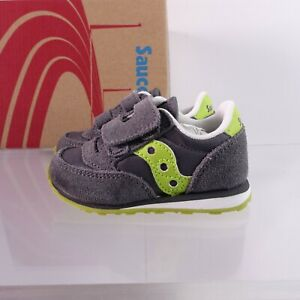 Size 4 Toddler Kid's Saucony Baby Jazz Hook and Loop Shoes Grey/Citron ST45520