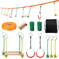 Child Climbing Ninja Rope Set Kid Obstacle Training Gym Fitness Exercise Trainer
