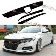 ABS Glossy Black Hood Lip Front Grille Cover Moulding Trim for 18 Honda Accord
