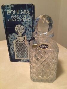 Vintage BOHEMIA Hand Cut Lead Crystal Whiskey Decanter 560ml - NEW with box