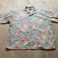 90s VTG LEVIS DOCKERS PAISLEY Pink Abstract VAPORWAVE Shirt XXL Funky Pastel