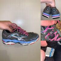 Mizuno Wave Enigma 4 Womens Size 8 Gray Pink Blue Lace Up Running Shoes