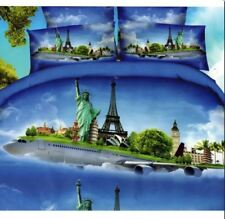 3D Bedsheet Modern World Travel Airplane Theme QUEEN Fitted Sheet w/Pillowcase