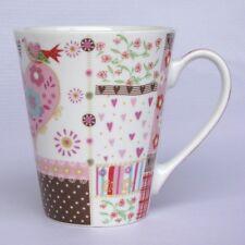 Becher mit Blumenmuster und Herz - Tasse mit Herz - rosa - Kaffeebecher - NEU