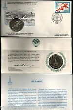 RUSSIA 1980 MOSCOW OLYMPIC SILVER COIN RUNNING UNC CURRENCY MONEY + FDC STAMP