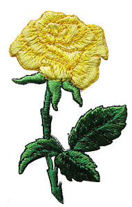 """#3721 3-1/2"""" Yellow Rose Flower Embroidery Iron On Applique Patch"""