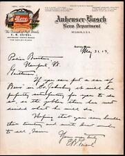 1919 St Louis - Anheuser Busch Bevo Department - Budweiser Beer RARE Letter Head