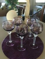Amethyst Colored Cut To Clear Wine Hocks. Set Of Five