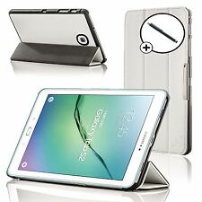 Leather White Folding Smart Case Cover Samsung Galaxy Tab S2 8.0 T710 + Stylus