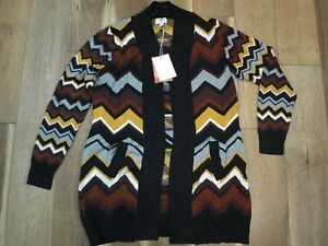 Missoni for Target Women's Brown Chevron Open Front Cardigan Sweater Sz L NWT