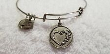 2014 Retired Alex And Ani Whole Heart Charm Russian Silver Bracelet Vintage