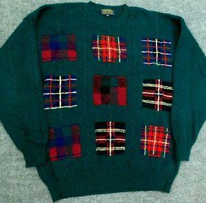 Vtg BROOKS BROTHERS Shetland Wool Sweater Argyle Plaid Green Hand Knit Men's XL