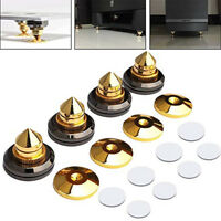 4pcs Golden Speaker Spikes Isolation Stand Feet Cone Base Pads Shockproof Mat