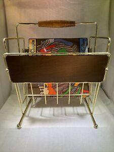 Vintage Mid Century Modern Metal Record Magazine Rack Holder Wood And Gold Tone