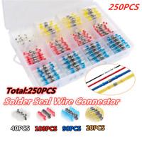 250PCS Waterproof Solder Sleeve Splice Wire Mix Heat Shrink Butt Connectors