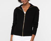 Nic Zoe Moto Black Zip Sweater Jacket Women's Size S 87806