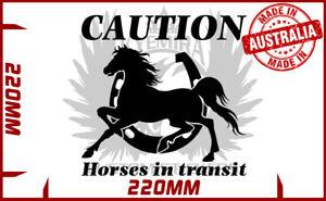 Caution Horses in transit vinyl sticker Horse float trailer horse sticker