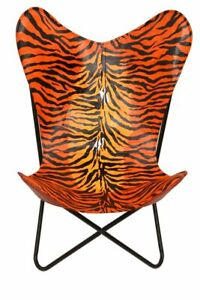 Orbit Art Gallery Leather Living Room Chairs-Butterfly Chair Leather Lion Print