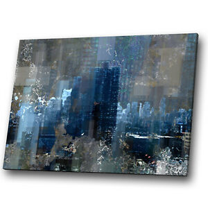 Black Retro Grey Navy Blue Abstract Canvas Wall Art Large Picture Prints