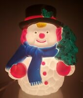 VINTAGE NOMA LIGHTED PLASTIC BLOW MOLD TABLETOP SNOWMAN WITH CHRISTMAS TREE
