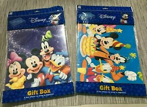 (2) DISNEY Easy Wrap Line Gift Box Mickey Minnie Goofy Donald Daisy Birthday NEW