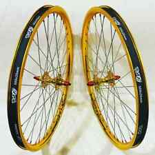 TNT BICYCLES, BMX WHEEL SET - 20, 24 OR 26 INCH - GOLD & RED