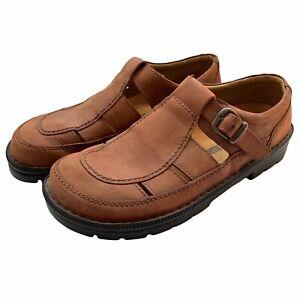 Birkenstock Footprints Fisherman Sandals Brown Leather Closed Toe Mens Size 42