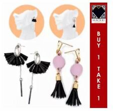 MACKRI Olivia Leather and Bead Dangling Tassel Stud Drop Earring BLACK SET OF 2