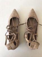 Schutz Olivia Flat Lace Up Nude Suede Shoes Size EUR 41 US 10