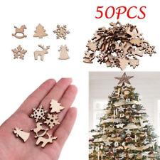 50Pcs Natural Wood Christmas Ornament Xmas Tree Decoration Reindeer Snowflakes