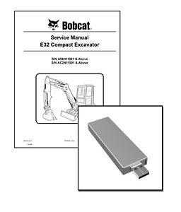 Bobcat E32 Compact Excavator Workshop Repair Service Manual USB Stick + Download