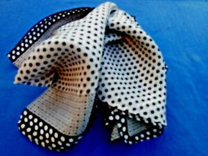 """100% QUALITY SILK INDIAN HANDMADE BLACK & WHITE SPOTTED LONG SCARF10""""x70"""" £10.50"""