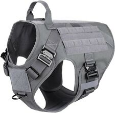 ICEFANG Grey Large Tactical Dog Harness 4 Buckle  MOLLE Vest With Handle