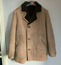 VINTAGE GENTLEMANS DOUBLE BREASTED SHEEPSKIN COAT JACKET SIZE 46 / UK XL