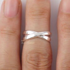 925 Sterling Silver Criss Cross Band size 3 Adjustable Midi Toe Ring A3652