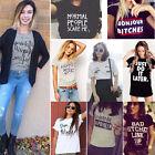 DONNA ESTATE illustrato Stampa Lettere T-Shirt Manica Corta Casual Maglietta