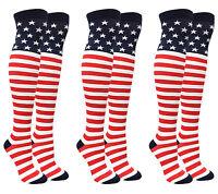 American Flag Stars and Stripes Thigh High Socks USA