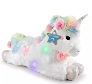 "FAO Schwarz Glow Brights Toy Plush LED with Sound Unicorn 15"" Stuffed Animal"