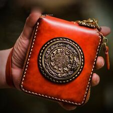 Handmade Mens Genuine Leather Clutch Chain Wrist Wallet Card Case Purse Wallets