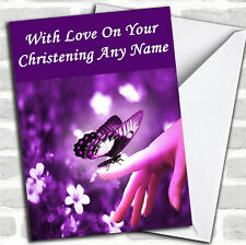 Purple Butterfly Personalised Christening Card