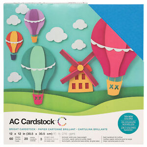 """American Crafts 12"""" x 12"""" Brights Design Textured Cardstock Pack - 60 Sheets"""