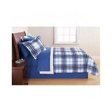 Teen Boys Bedding Queen Size Set Children Kids Blue Plaid Bed In A Bag Comforter