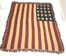 American Flag Knit Afghan Loomed Throw Blanket Crochet Patriotic VTG Fringe EUC