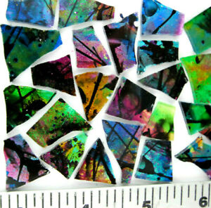 50 BLACK BEAUTY Metallic Multicolor GLITZ Mosaic Art Glass by Makena Tile