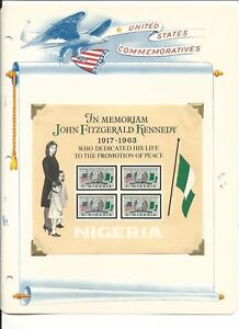 Nigeria Collection, John Kennedy on 3 White Ace Pages, Mint NH & FDC