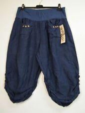 Pantalones de mujer azules, 100% lino