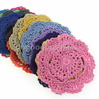 4pcs 10cm Lotus Floral Hand Crochet Doilies Cup Coasters Mug Rugs Cotton