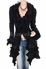 Gorgeous Ruffles Lace Tiered Hem Button Up Cardigan Long Sweater Jacket
